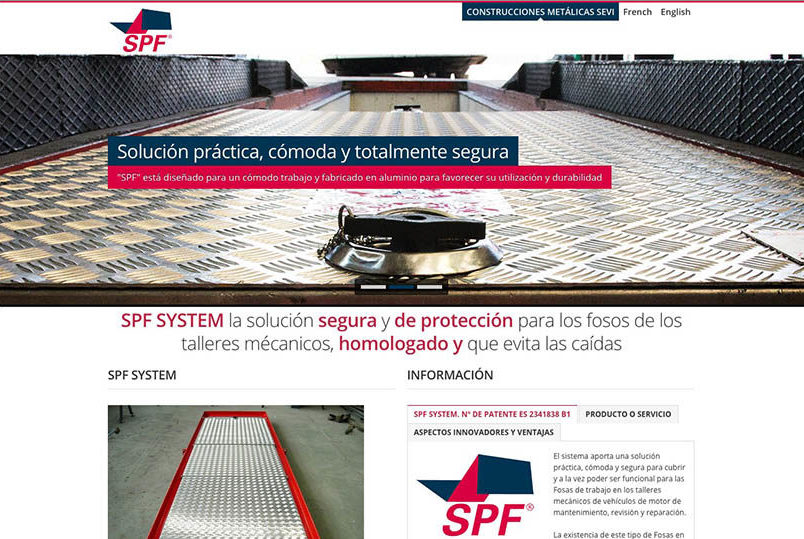 <span>www.spfsystem.es</span> Web Corporativa · Tres idiomas