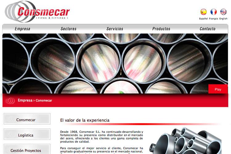 <span>www.consmecar.com</span> Web de productos · Cuatro idiomas