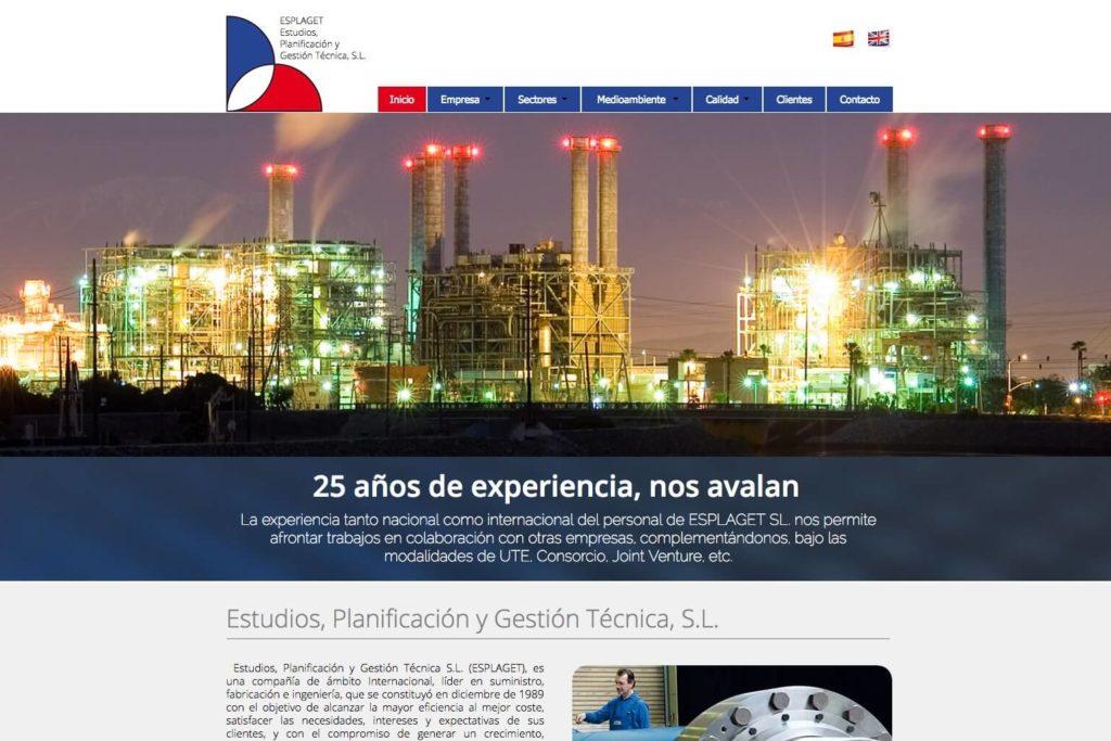 <span>www.esplaget.com</span> Web corporativa · Dos idiomas