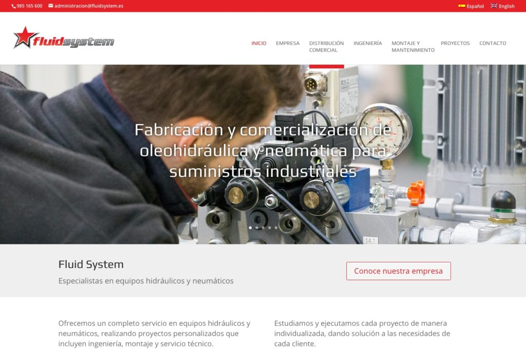 <span>www.fluidsystem.es</span> Web Corporativa · Dos idiomas