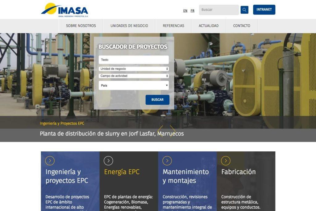 <span>www.imasa.com</span> Web corporativa · Intranet · Tres idiomas