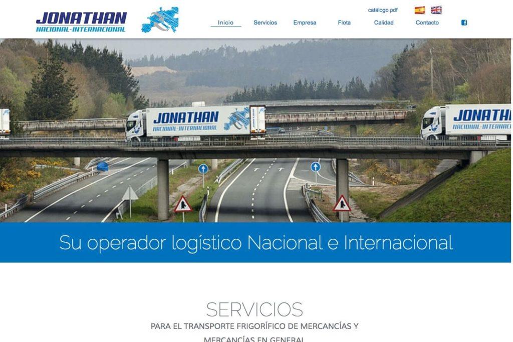 <span>www.transportesjonathan.com</span> Web corporativa · Dos idiomas