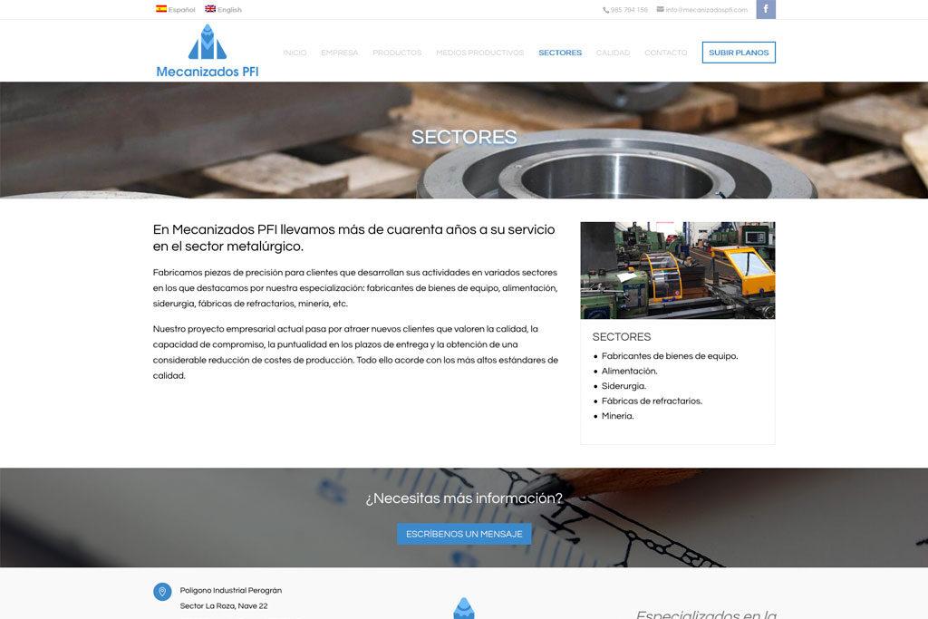 <span>www.mecanizadospfi.com</span> Web corporativa · Dos idiomas